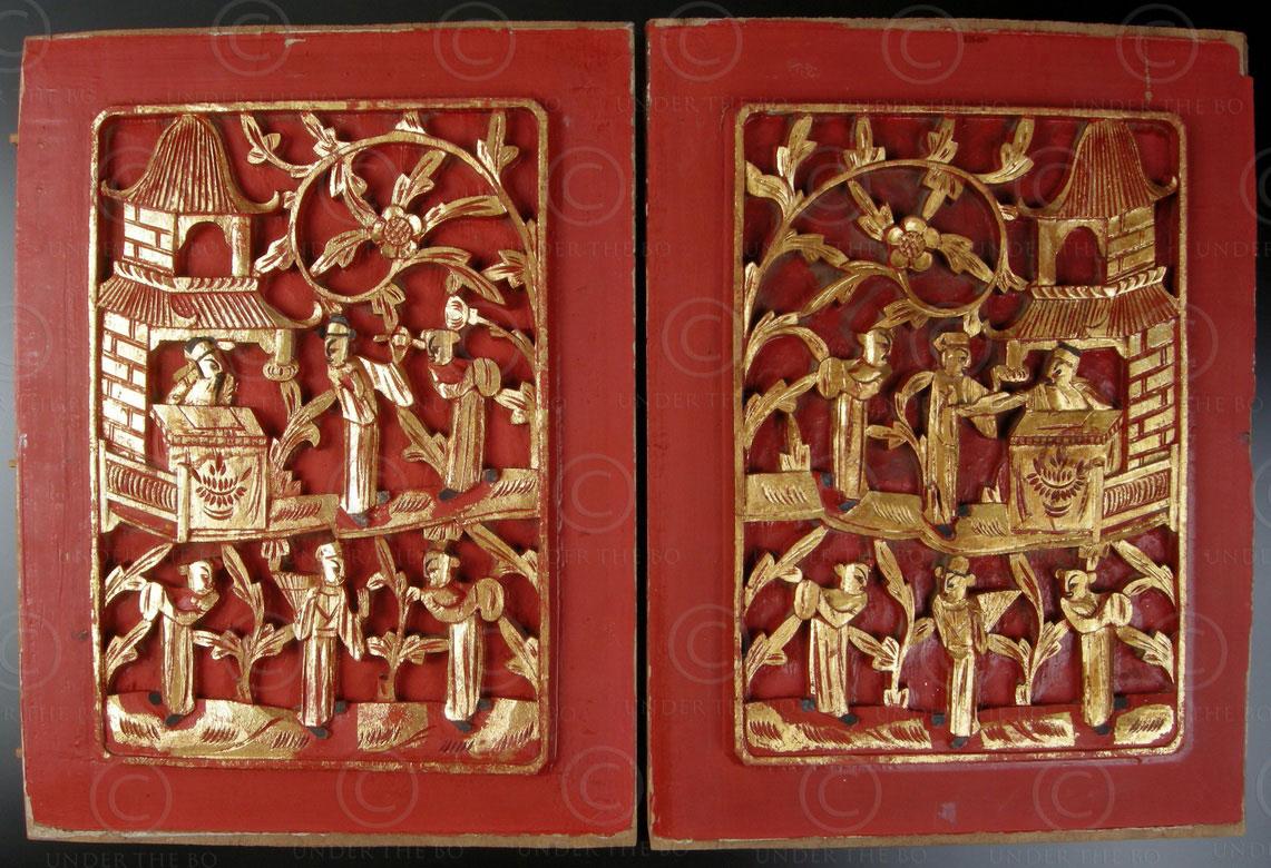 panneaux chinois cp17 bois de camphre laqu et dor chine arts et antiquit s d 39 asie. Black Bedroom Furniture Sets. Home Design Ideas